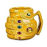 Marvel Thanos - Tazza per colazione originale con guanti, motivo anime tazza, in ceramica, di grande capacità, 350 ml