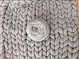 Zituop Super Chunky Yarn Merino Wool Alaternative Bulky Roving for Arm Knitting Blanket, 500g-1.1lb (Light Grey)