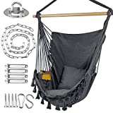 WBHome Hammock Chair Swing with Hanging Hardware Kit- Grey, Cotton Canvas, Include Carry Bag & Two Seat Cushions, for Indoor Outdoor, Max. Weight 330 Lbs