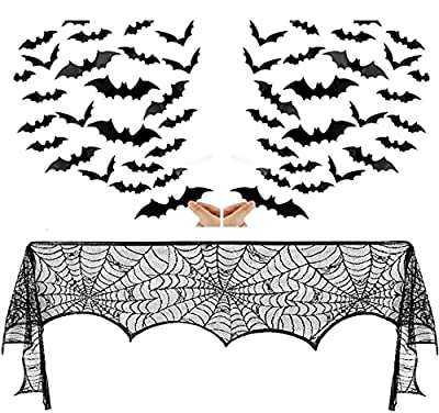 Halloween Decorations Sets Black Lace Spiderweb Fireplace Mantle Scarf Cover & 60pcs 3D Bats Stickers for Halloween Party Supplies 45 X 248 cm 18 x 98 inch by XIANGDI