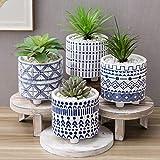 MyGift Blumentöpfe aus Keramik, mit Füßen und dekorativen mediterranen Mustern, 10,2 cm, Weiß / Blau, 4 Stück