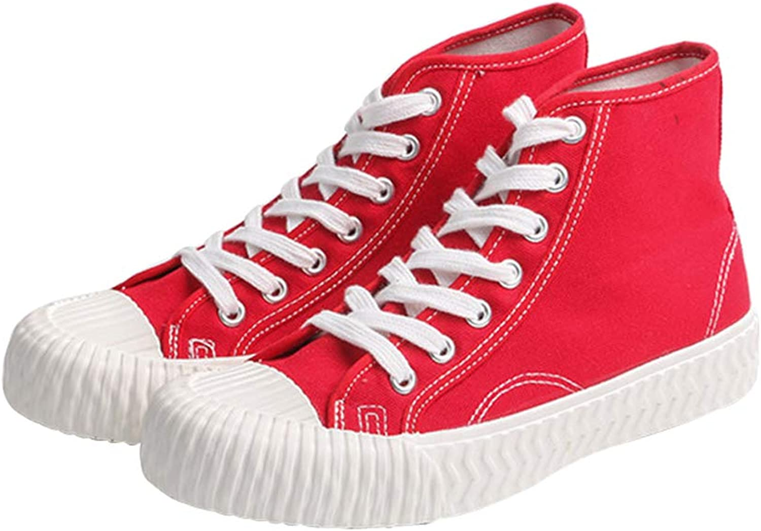 Women's Canvas shoes Japanese High-Top Canvas shoes Wild Breathable shoes High to Help Women's Lace-Up shoes