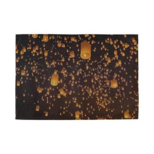 XHYYY Tischsets 4er-Set für den Esstisch Waschbare Fliegende Himmelslaterne auf Yeepeng Festival Tischset rutschfeste Küchentischmatten