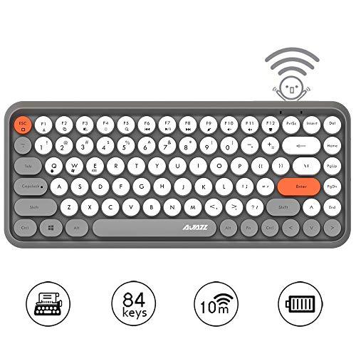 Hoopond Kabellose Bluetooth-Tastatur, Niedliche Mini-Kompakttastatur mit 84 Tasten, 2,4 GHz kabellose Bluetooth-Verbindungstechnologie, ABS-Retro-runde Tastenkappe, Ergonomisches Design (Grau)