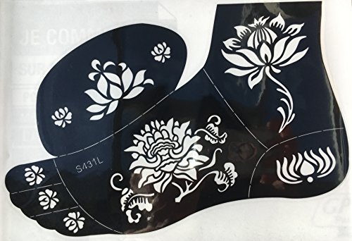 Tattoo Plantilla Plantilla Flores Designs s431l pie para cuerpo y Izquierdo para Henna Glitter aerógrafo Tattoo Adecuado