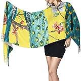 Bufanda de mantón Mujer Chales para, Hermoso pavo real Moda para mujer Mantón largo Invierno Cálido Bufanda grande Bufanda de cachemira