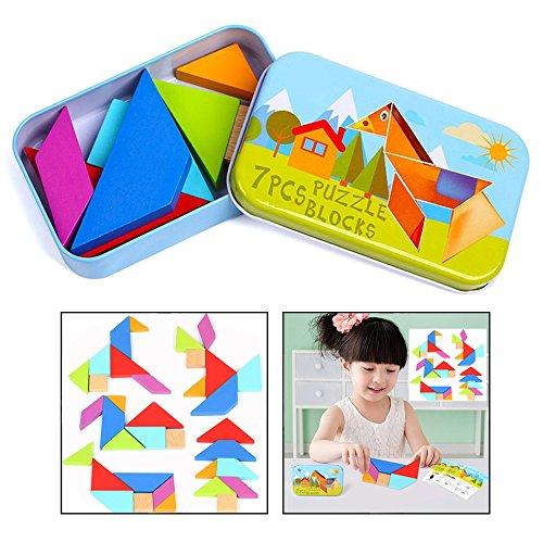 OFKPO 7pcs Tangram Rompecabezas de Madera Puzzle Desarrollo Educativo Juguete de Los Niños, Brain Training Geometría Juegos Puzzles Patrón Bloques