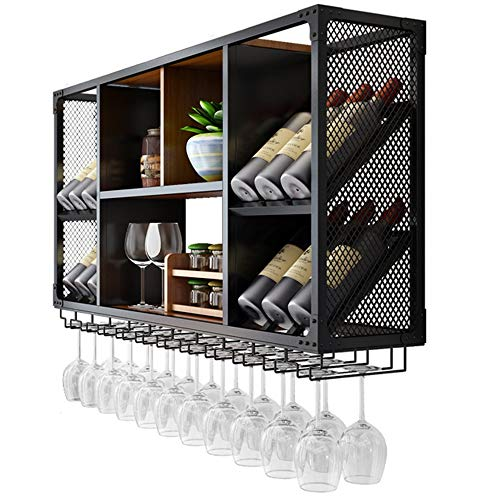 LJFJJ Porta calici Supporto per calici Montato Armadi per Vino della Decorazione della Parete per Cucina, Sala da Pranzo, Bar o Cantina Telaio in Ferro Nero (Color : Black, Size : 100x60x25cm)