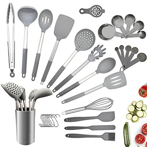 Juego de utensilios de cocina, 34 piezas de utensilios de cocina de silicona antiadherente con soporte, mango de acero inoxidable, juego de utensilios de cocina de silicona resistente al calor
