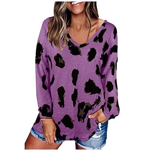 HIRIRI Fall Long Sleeve Tunic Tops for Women V Neck Leopard Color...