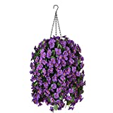 Hanging Artificial Flowers Basket, Fake Hanging Plant, Silk Orchid Flowers, Faux Flower Arrangement for Outdoor Garden Yard Pouch Patio Indoor Home Decoration (Purple)