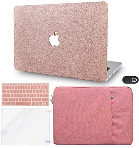 KECC Laptop Case for MacBook Air 13' Retina (2020, Touch ID) w/Keyboard Cover + Sleeve + Screen Protector + Webcam Cover (5 in 1 Bundle) Plastic Hard Shell Case A2337 M1 A2179 (Rose Gold Sparkling)