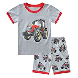 Babylike Pijamas Dos Piezas para niño,Pijama Infantil de Dinosaurio,etc, 100% algodón, Manga Corta, Verano, 2 Piezas, Ropa de 2 a 11 años(Gris / Rojo Tractor,4 años)