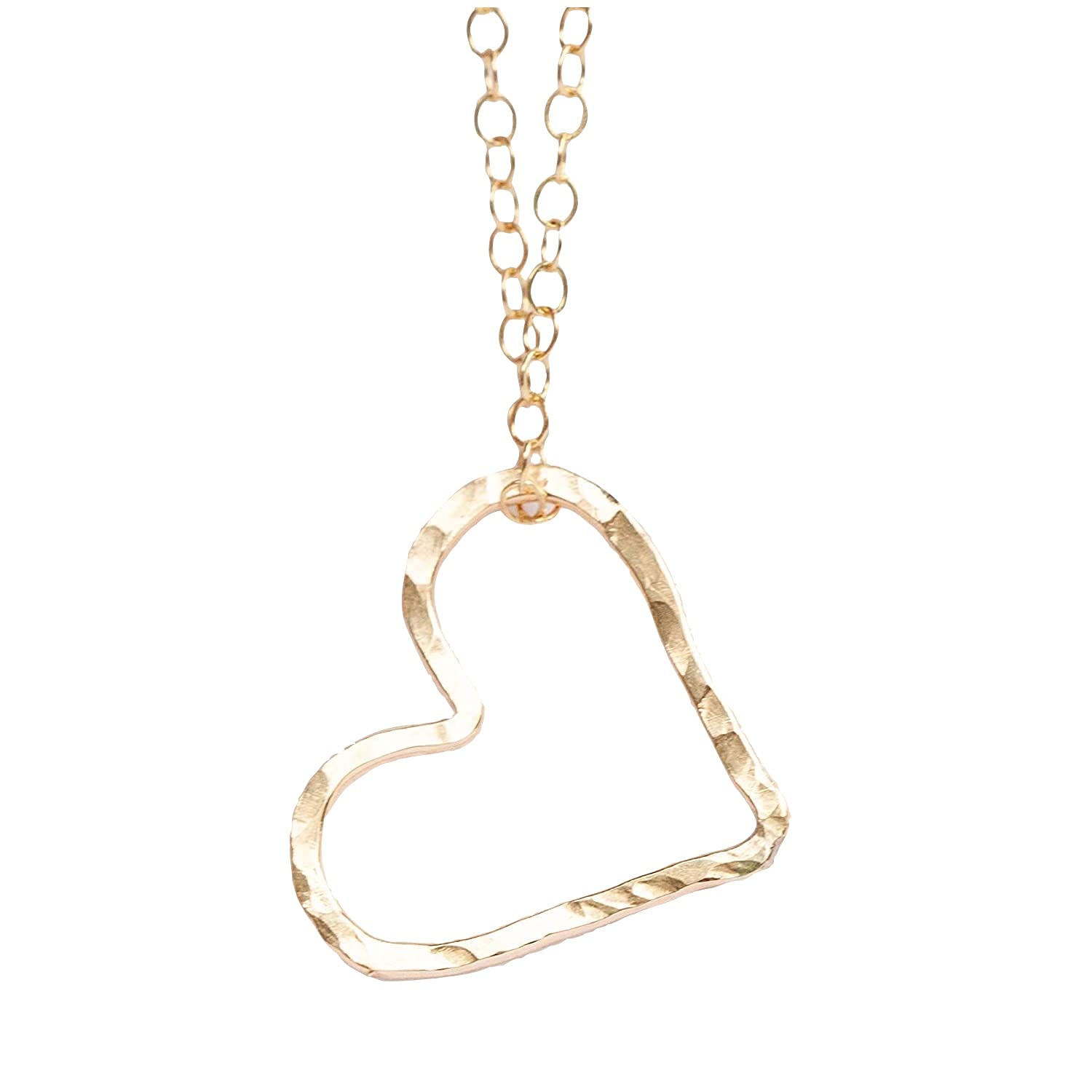 Floating Heart Pendant with 18 inch Necklace Gift for Mom Woman | Mothers Day Simple Gift Idea | Delicate Hammered Design 14k Gold Filled