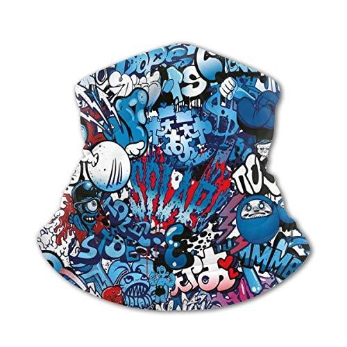QOR Balance Street Wall Graffiti Graphic Boy Girls Full-Coverage Tube Seamless Headwear Kids Face Windshield Sunscreen UV Dust Protection for Travel