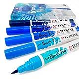 Royal Talens Ecoline - Rotuladores de pintura para acuarelas líquidas, juego de 5 pulgadas de plástico, color azul