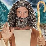 Set Originale Parrucca & Barba da Zeus/Grigio/Parrucca Travestimento biblico da Mosè con Barba/Adatta a Travestimenti & Serate a Tema