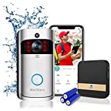 Campanello video senza fili con batterie, campanello connesso con Camera, microfono/altoparlante e conversazione bidirezionale, videocitofono connesso WiFi, rilevatore di movimento e visone notturna