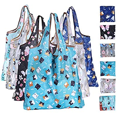 Reusable Grocery Bags, Foldable Storage Bag 6 Pack Large Shopping Bags, Butterfly Dog Sheep Pattern Groceries Bags with Pouch, Rip-stop Waterproof Washable Bags for Groceries or Shopping