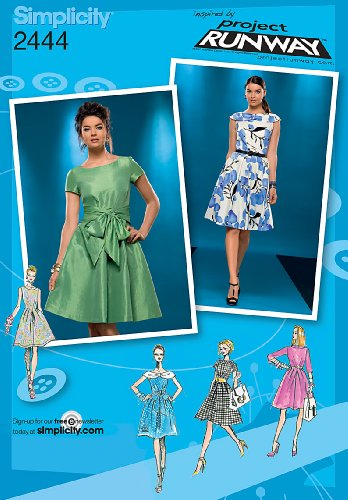 Simplicity Project Runway Pattern 2444 Misses Dress with Collar and Sleeve Variations Sizes 4-6-8-10-12