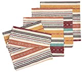 Table Dinner Napkins Set of 4 Desert Southwest Mesa Stripe Jacquard Fabric Dinner Table Cloth Napkins for Family Dinner Gatherings, Dinner Parties & Everyday Use, 100% Cotton Cloth Napkin Set