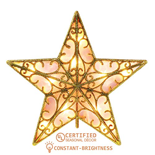 YUNLIGHTS 9 Inch Lighted Star Tree Topper, Gold Glittered Vintage Christmas Tree Toppers for Indoor Christmas Ornaments Party Home Decoration, Warm White