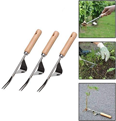 ZGL 1/3/5 Stcs Edelstahl Unkraut, Garten Hand Unkraut Werkzeug Unkraut Löwenzahn Entferner Grubber Für Blumen Gemüsepflanzen Pflege (3pcs)