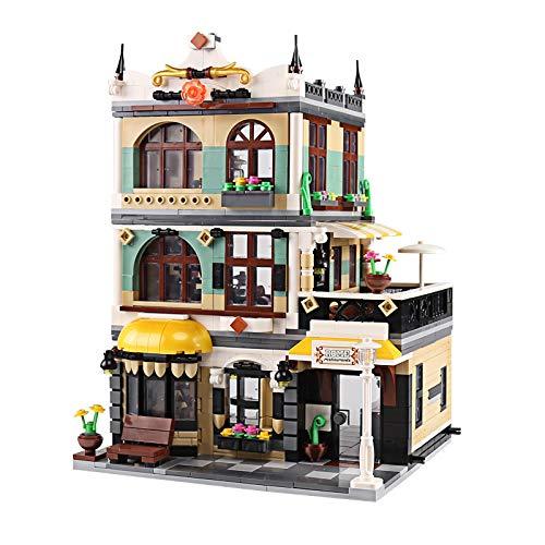 PEXL Haus Bausteine Bausatz, Modular Rom Restaurants Architektur Modell, 1180 Klemmbausteine und 3 Minifiguren, Kompatibel mit Lego Stadthaus