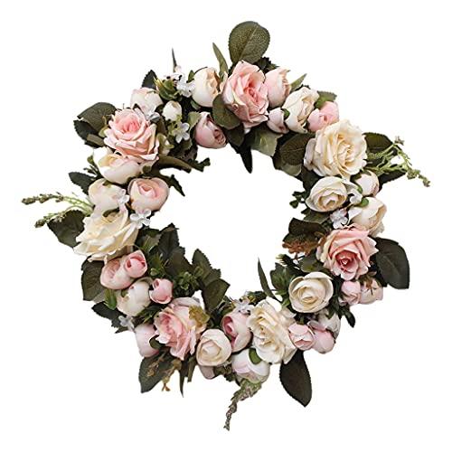 H HILABEE Decoración del Patio de La Boda de La Vid de La Flor de Rose de Seda Artificial de La Guirnalda - Rosa a