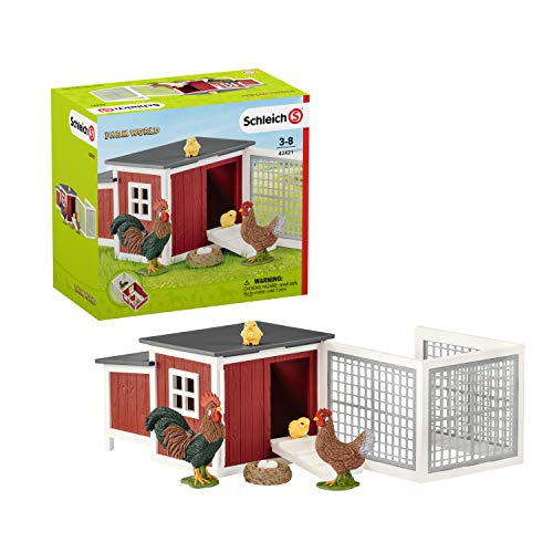 Schleich- Colección Farm World Figura de Gallinero con Animales, 19 cm, Multicolor (42421)