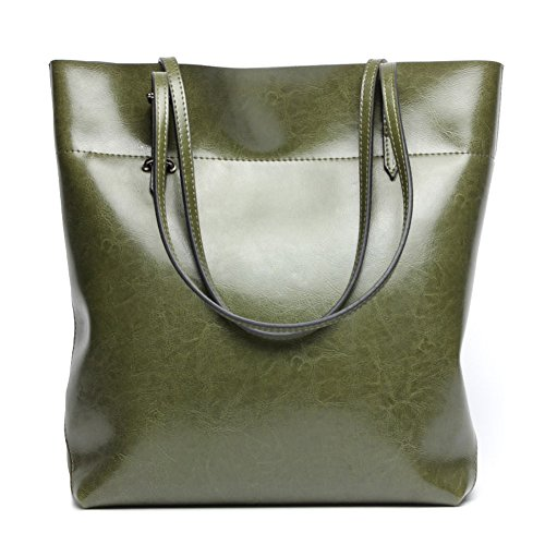 Covelin Women's Handbag Genuine Leather Tote Shoulder Bags Soft Hot Army Green