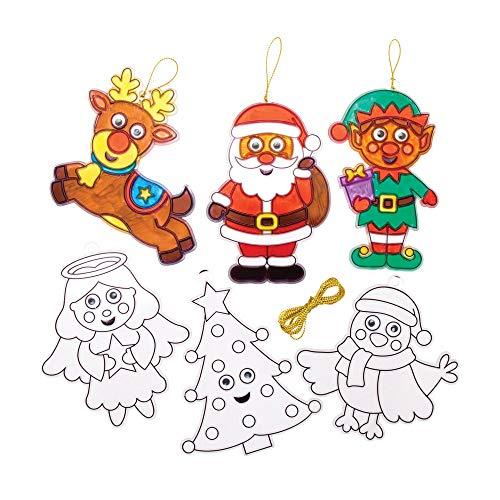 Baker Ross AT297 kerstbal wiebelogen raamdecoratie (8 stuks) knutselen voor kinderen met Kerstmis, gesorteerd