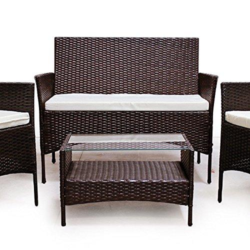POLY RATTAN Lounge Gartenset Dunkelbraun Sofa Garnitur Polyrattan Gartenmöbel - 2