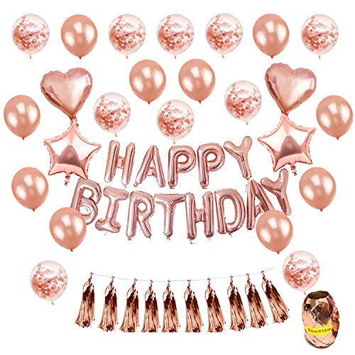 Birthday Balloons, 47 Pcs Happy Birthday Balloons, Rose Gold Banner, Tassel Garland, Heart Star Foil Confetti Balloons and Table Confetti for Girl Women Birthday Party