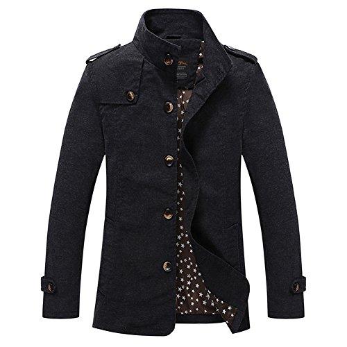 H.T.Niao Jacket8525C2 Men 's Fashion Long Casual Jackets(Black,Size L)