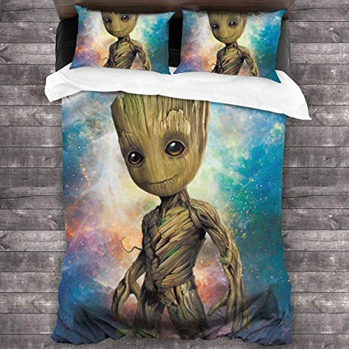 Juego de ropa de cama Groot-2 con diseño de anime en 3D, funda de edredón de microfibra, con cremallera, funda de almohada (Groot-2, 140 x 210 cm + 80 x 80 cm x 2)
