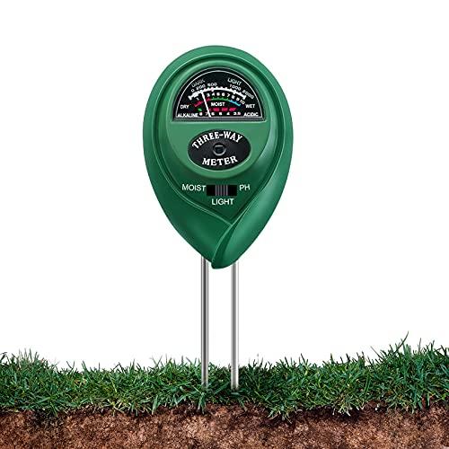 KNMY Medidor de Humedad Suelo Teste, Medidor de Humedad Probador de pH 3 en 1/de Luz/Humedad, Plantas Medidor para Plantas, Jardín, Granja, Interior, Exterior(No Necesita batería/Solo para Suelo)