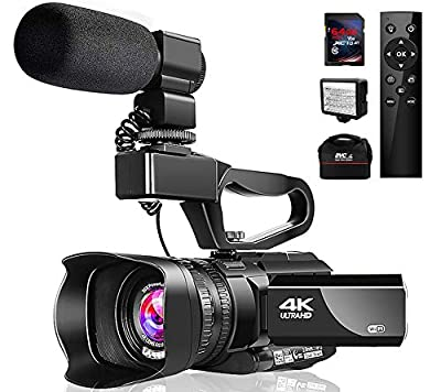 "4K Video Camera Camcorder with Microphone 48MP Vlogging Camera WiFi YouTube Camera IR Night Vision 3"" Touch Screen 30X Digital Zoom Camera Recorder with 360°Wireless Remote Control and Lens Hood by LINNSE"