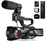 4K Video Camera Camcorder with Microphone 48MP Vlogging Camera WiFi YouTube Camera IR Night Vision 3' Touch Screen 30X Digital Zoom Camera Recorder with 360°Wireless Remote Control and Lens Hood