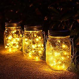 3 Pièces Solaire Lumière Jardin,30 Led Lanterne Solaire Suspendu Exterieur,Imperméable à l'eau Mason Jar Lampes…