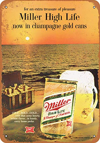 Lplpol 1968 Miller High Life in Cans Aluminum Sign Indoor Or Outdoor Vintage Metal Sign 12' x 18'