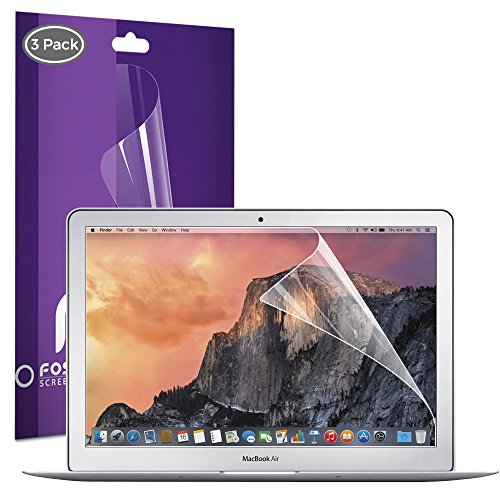 Macbook Air 13 Zoll Display- Schutz- Folie (3 Stück) Fosmon [HD Kristall Klar] Bildschirm / LCD Folie [+ Reinigungsset] [Anti-Fingerabdruck][Antikratz, Bruchsicher & Blasenfrei][Leicht Anzubringen]