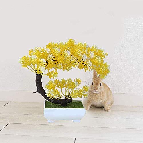 zdw Muebles Plantas artificiales Bonsai Plástico Simulación Árbol Tabietop Maceta Decorativa Flores falsas Hojas Jardín Planta Decoración para el hogar Bonsai, Amarillo,Amarillo