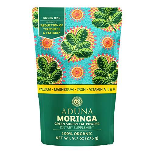 Aduna Organic Moringa Powder - 275g Resealable Pack. 100% Pure Organic Moringa Leaf Powder