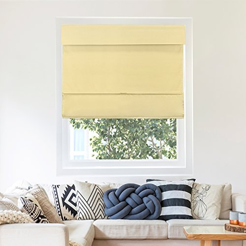Chicology Cordless Magnetic Roman Shades / Window Blind Fabric Curtain Drape, Thermal, Light Filtering - Mountain Almond, 23'W X 64'H