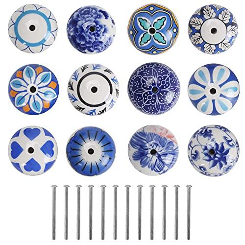 KAILEE 12pcs Pomo Ceramica Armario, Redondo Pomos Armario Vintage de Color Azules Pomos y Tiradores de Muebles para Cajones Cocina Gabinete Tocador Puertas