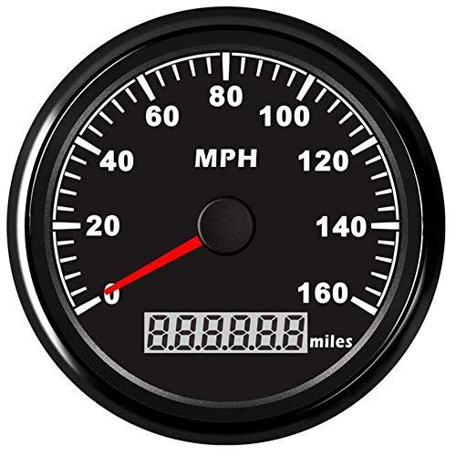 DishyKooker Wasserdichter GPS-Geschwindigkeitsmesser 160MPH für Auto-Motorrad-Boot mit Hintergrundbeleuchtung 3-3/8 Zoll 9-32V Schwarze Muschel schwarzes Gesicht AutoAccessory