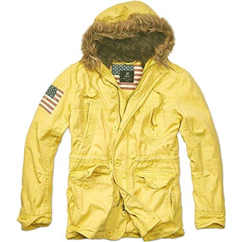 Brandit Vintage Explorer Stars + Stripes Parka, Amarillo (Yellow 50), Large para Hombre
