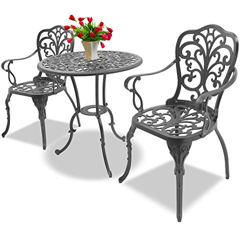 Homeology BANGUI Luxurious Garden & Patio Table & 2 Large Chairs with Armrests Cast Aluminium Bistro Set - Graphite