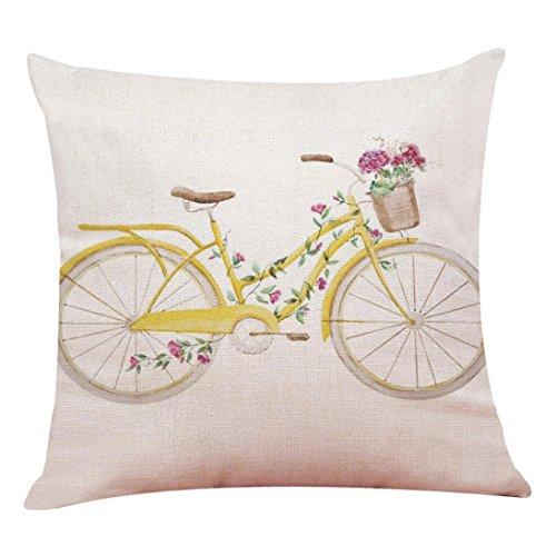 Fossrn Fundas cojines 45x45 Moderno Flores Bicicleta Fundas de Almohada Decorativo Sofa Baratos (03)